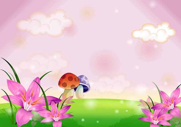 Детский многослойный фон с грибками
