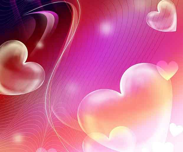 Многослойный романтический фон с сердечками