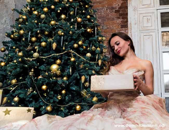 Новогодняя ёлка, девушка, новый год
