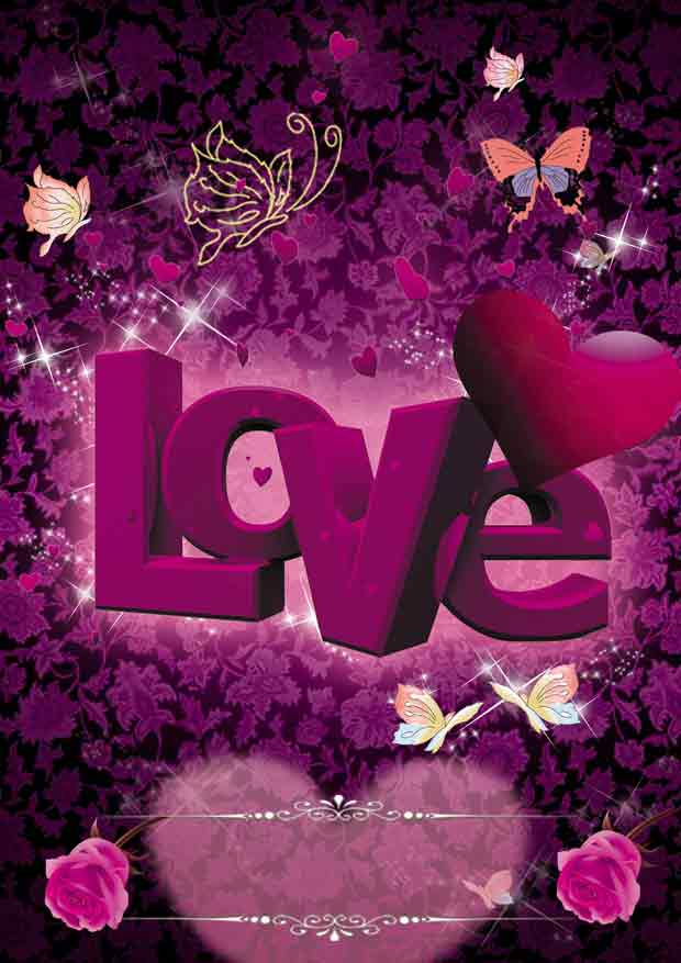 Любовь, Валентинка, многослойный романтический фон