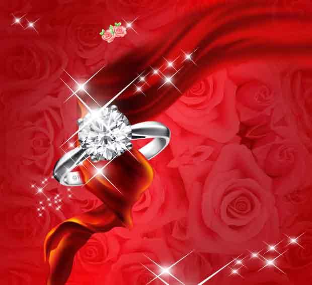 Красный романтический многослойный фон с кольцом