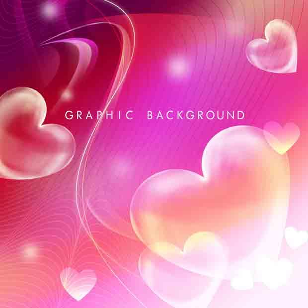 Многослойный романтический фон с сердечка