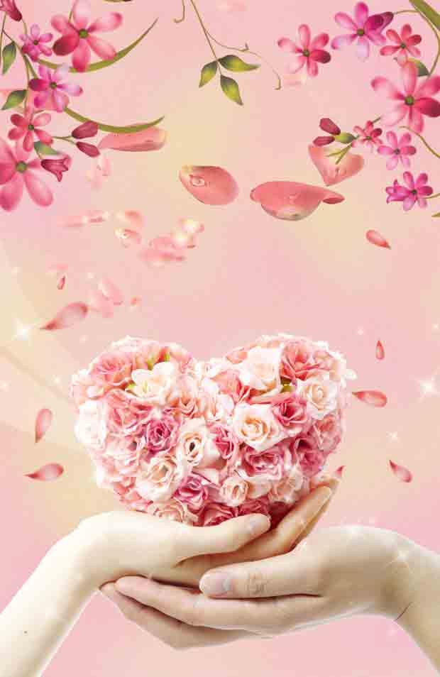 Сердце из роз многослойный фон
