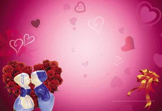 Романтический многослойный розовый фон с сердцем из роз