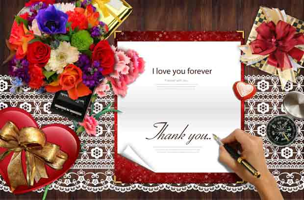 Валентинка, многослойная открытка для Photoshop