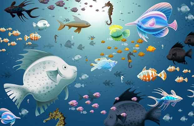 Многослойный исходник с рыбами