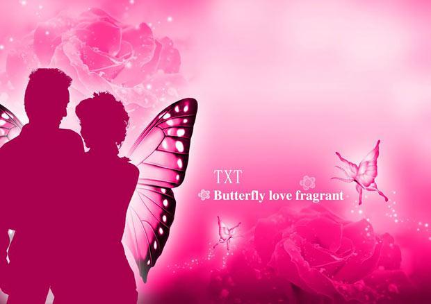 Многослойный романтический исходник с бабочкой