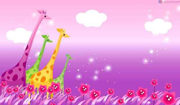 Многослойный фон Разноцветные жирафы