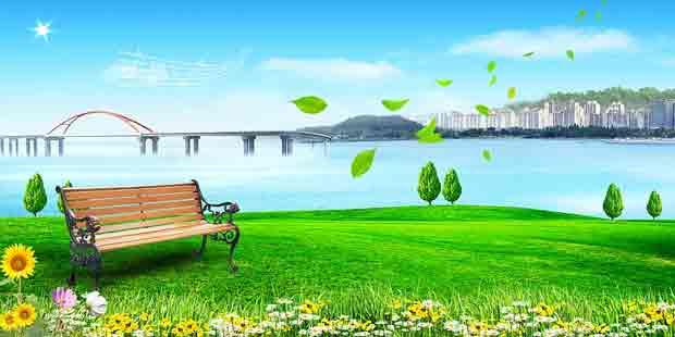 Многослойный исходник природно-городской пейзаж