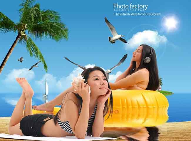 Девушки на пляже, многослойный исходник