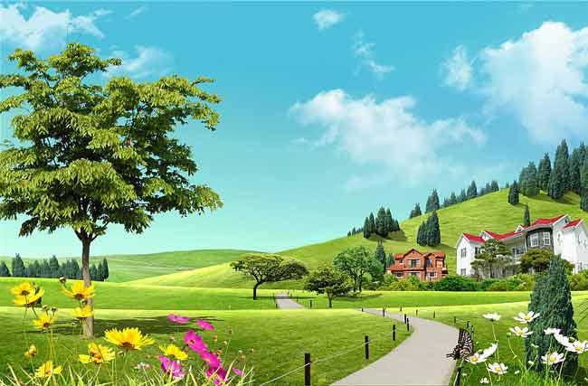 Многослойный исходник летний пейзаж