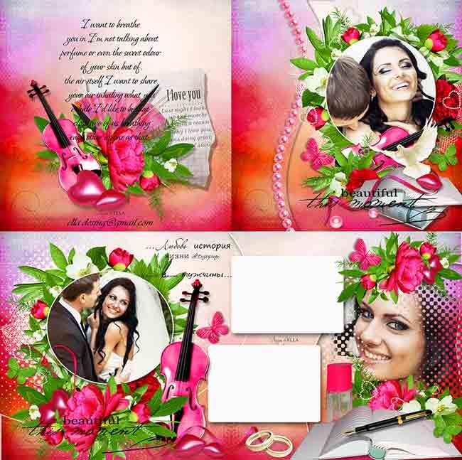 Розовая романтическая фотокнига