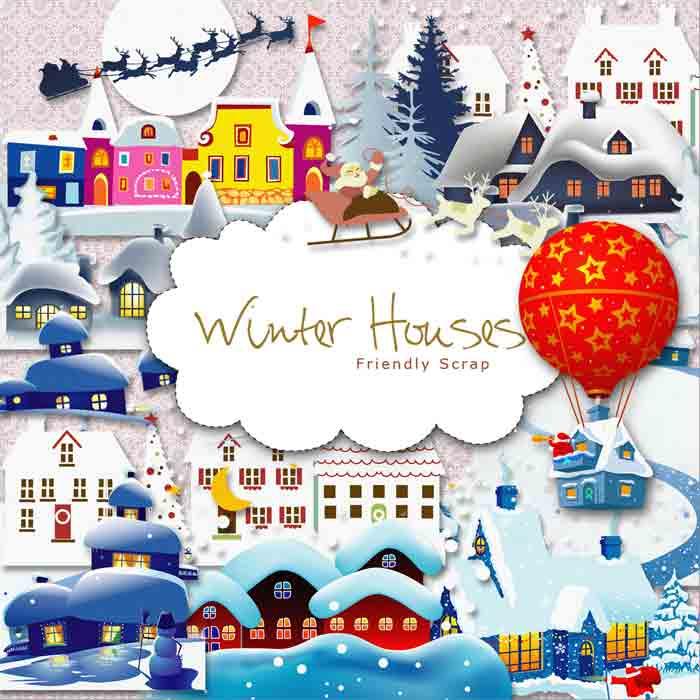 Клипарт Зимние дома скачать