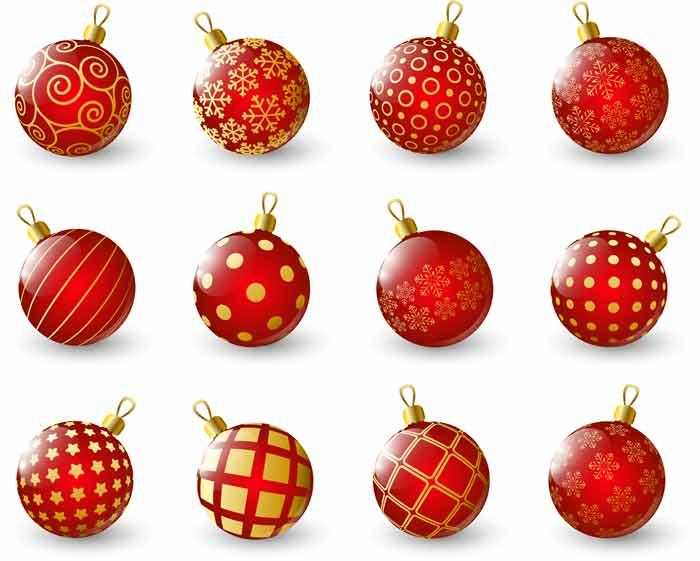 Новогодние ёлочные игрушки клипарт скачать