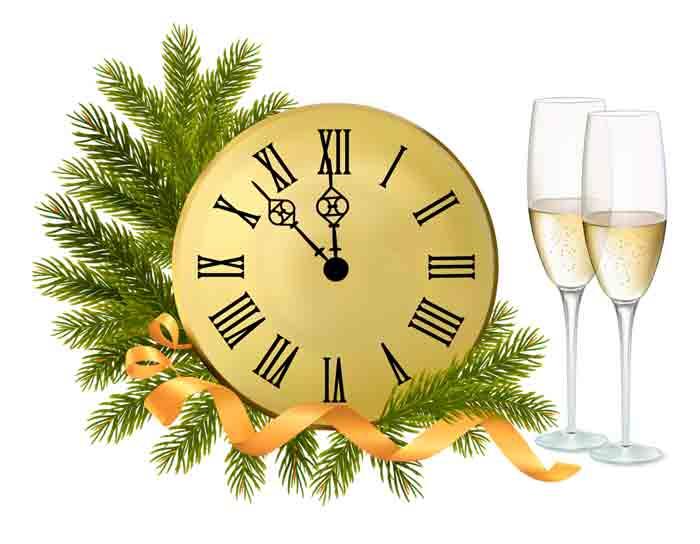 Клипарт Новогодние часы скачать