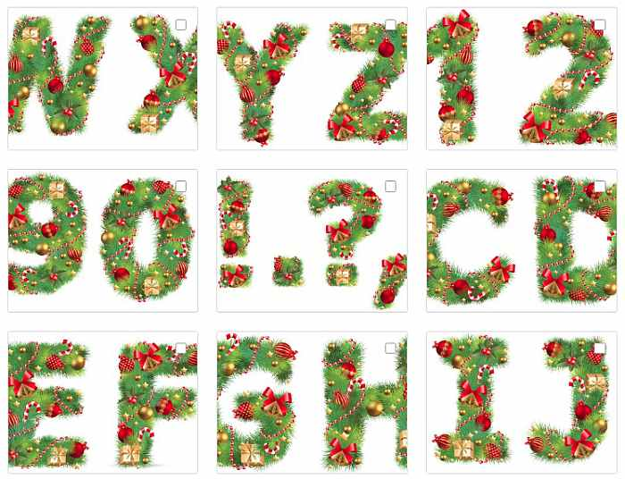 Новогодние буквы и цифры