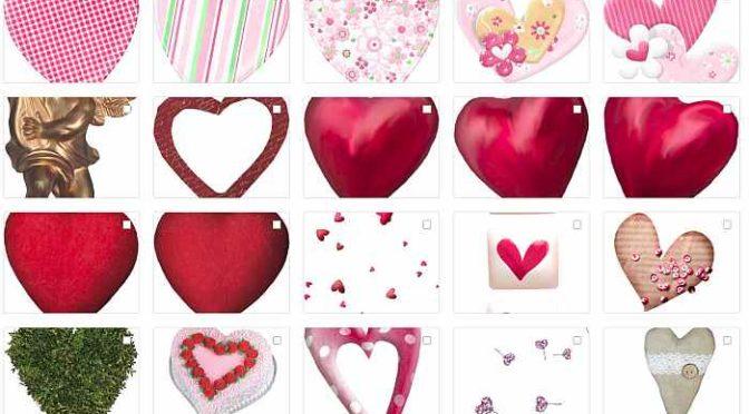 Сердечки, романтический клипарт к Дню Влюблённых