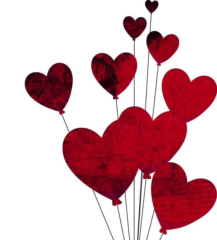 Сердечки, романтический клипарт на День влюблённых