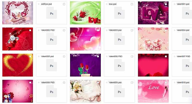 Романтические фоны, валентинки в PSD скачать